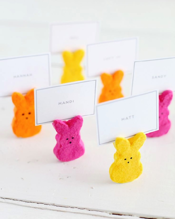 Peeps bunny place card holders via A Beautiful Mess