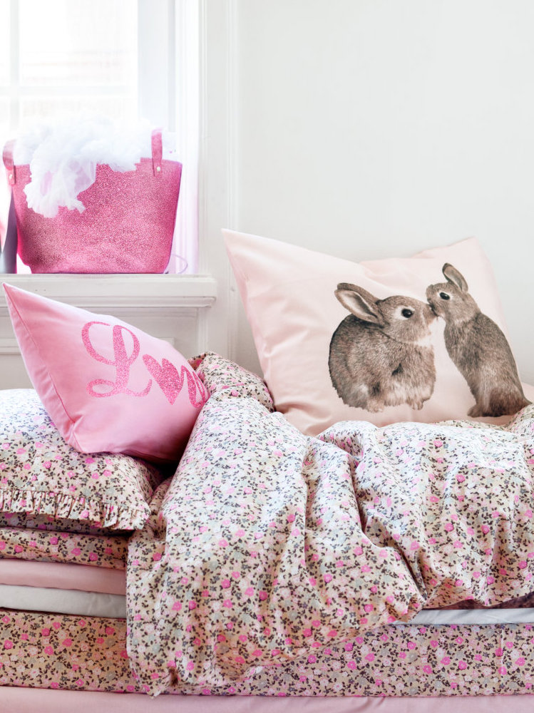 Pink bunny pillows
