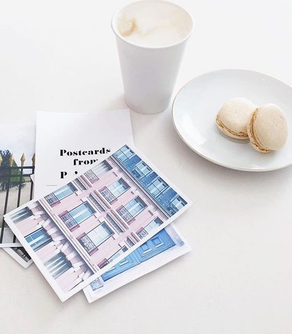 Pink paris postcards and macarons