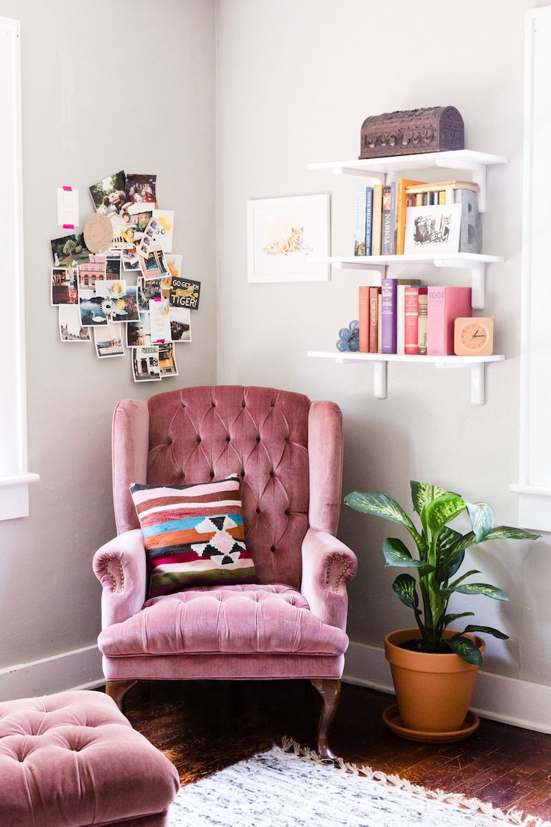 Pink velvet tufted wingback chair via Darling Mag
