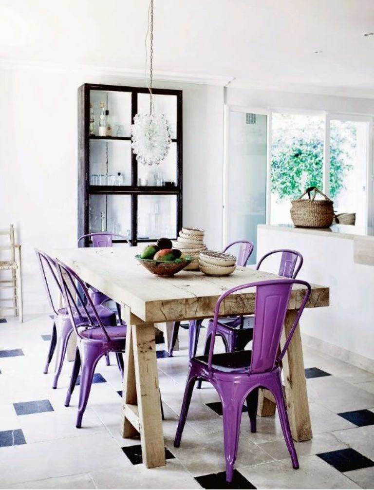 Purple tolix chairs in the dining room