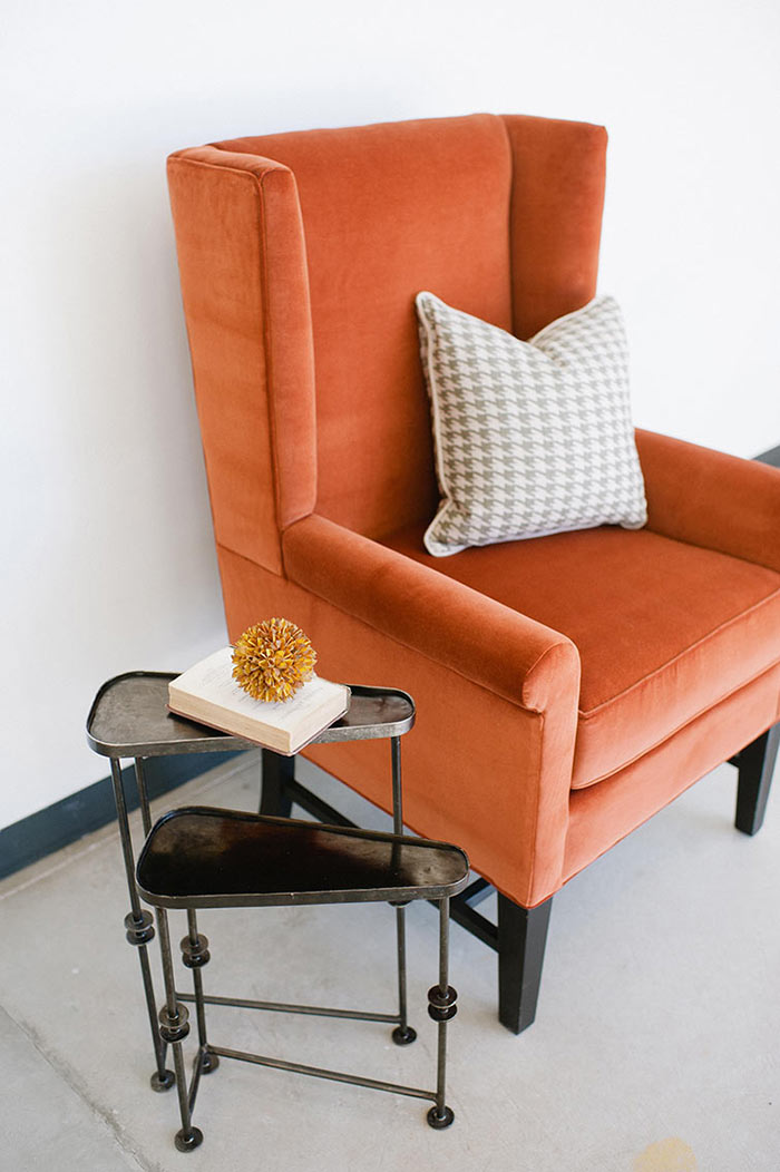 Repurposed Orange Velvet Wingback-Chair via Stel House