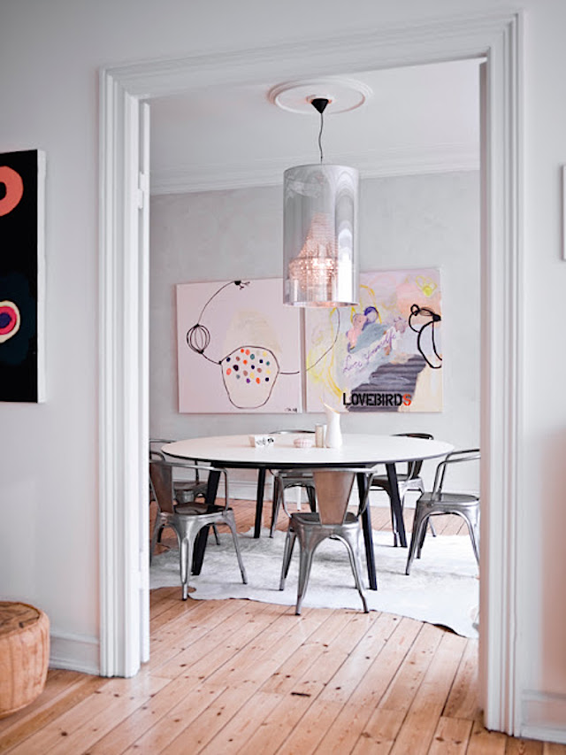 Silver tolix chairs with pink art