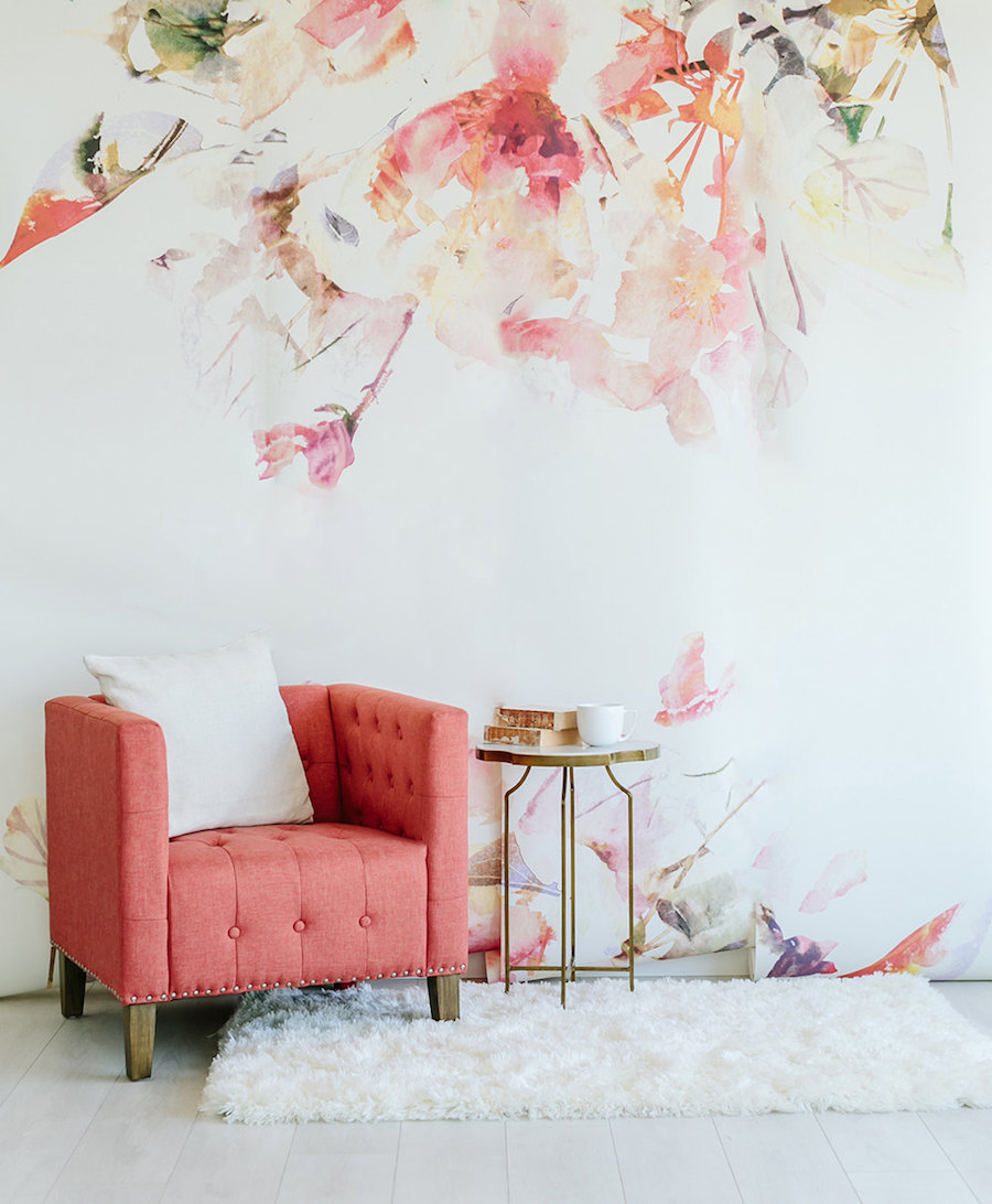 Spring Floral - Large Wall Mural, Watercolor Mural