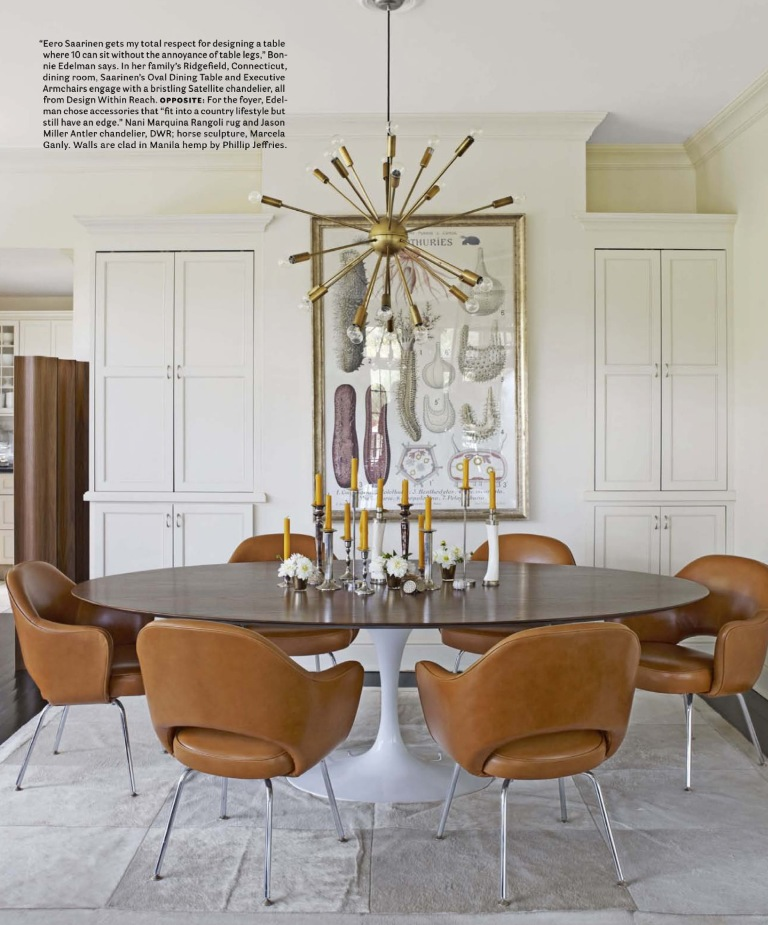 Sputnik chandelier in dining room with camel chairs via House Beautiful