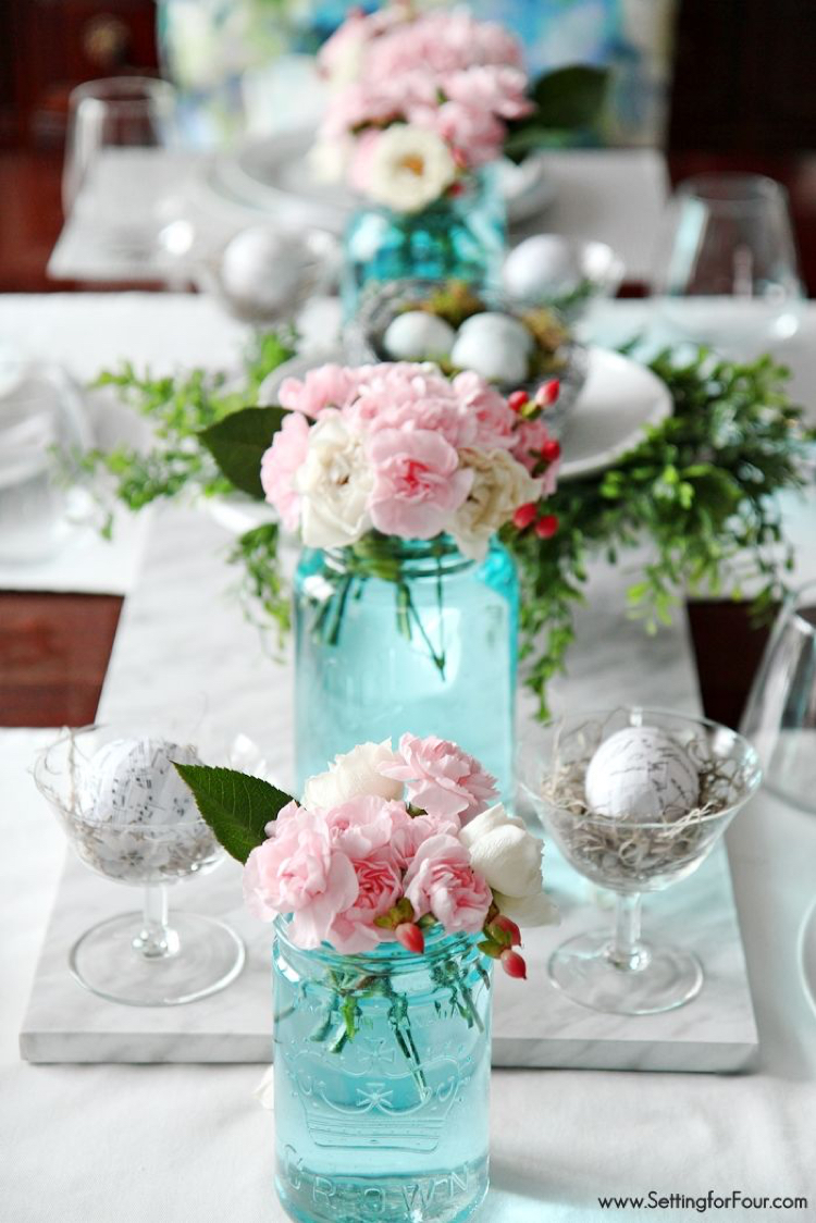 Turquoise flower vases table setting