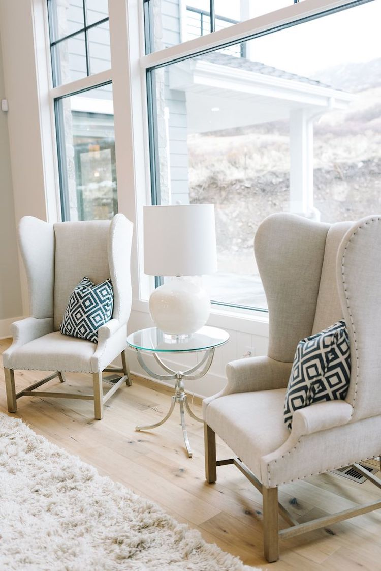 Twin Neutral Wingback Chairs
