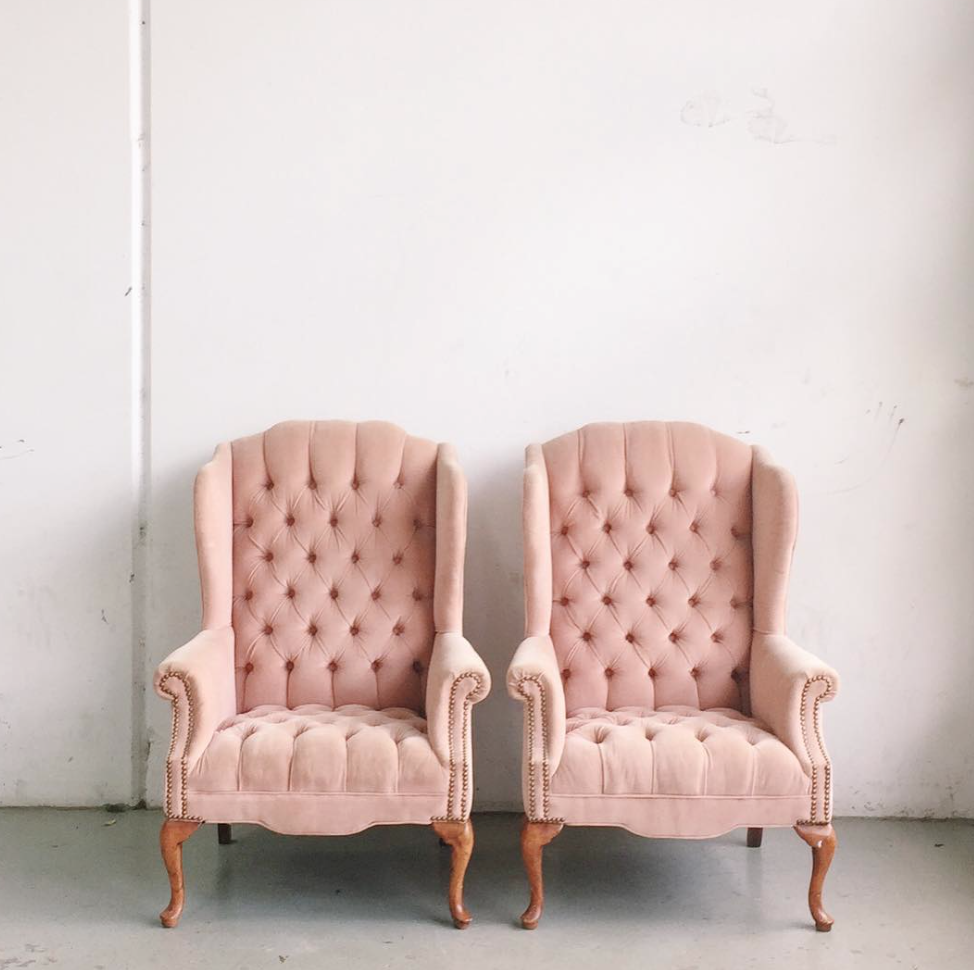 Two Tufted Pink Velvet Wingback Chairs via Chicago Vintage Weddings