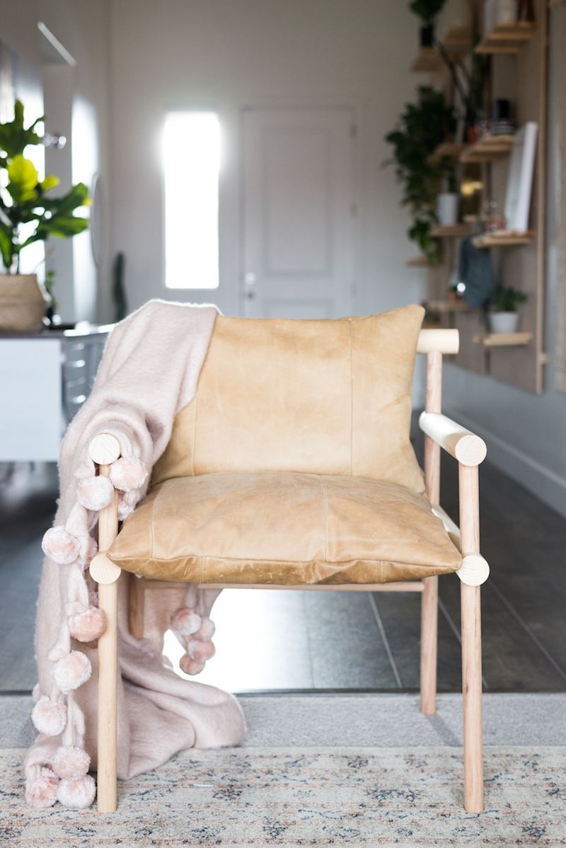 UO Leather and Wood Chair