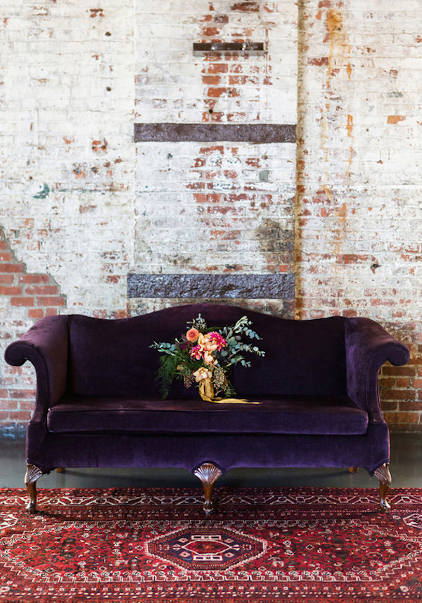 Vintage purple velvet sofa via 100 Layer Cake