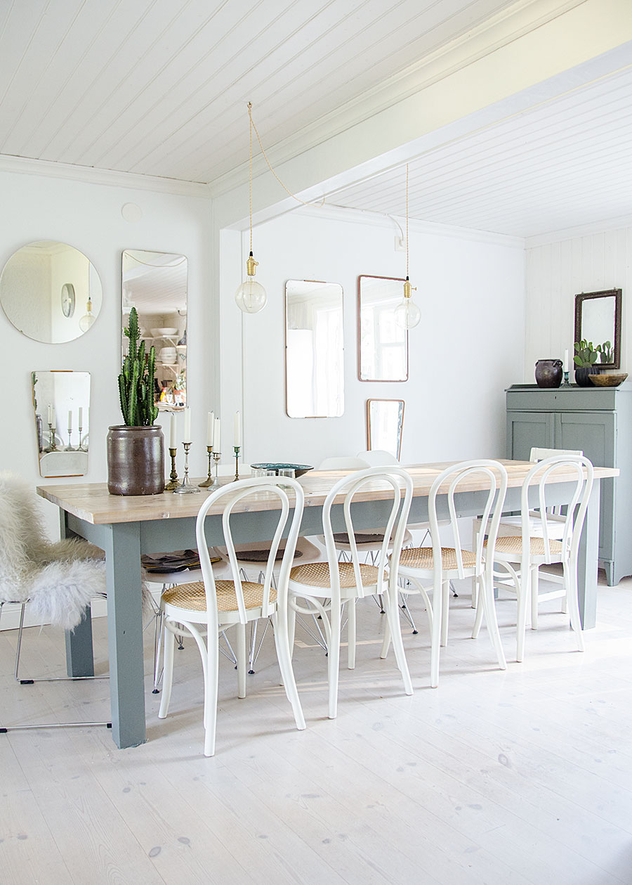 White bentwood chairs in country dining room via Anna Truelsen