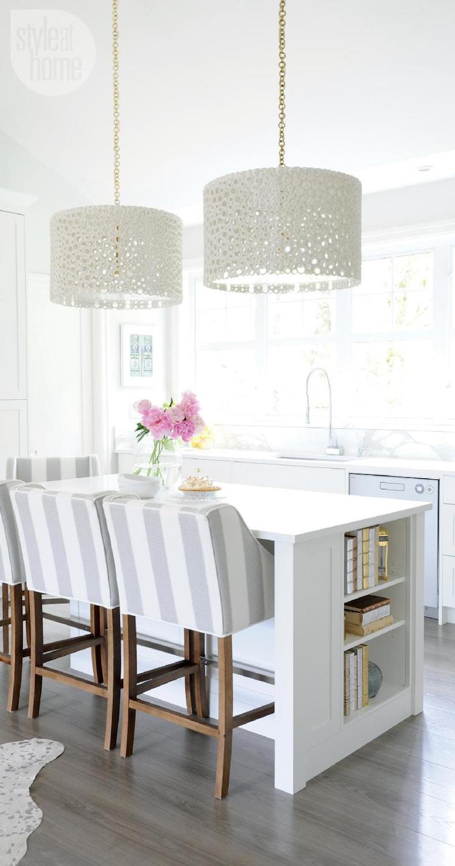 White cylinder ceiling lights