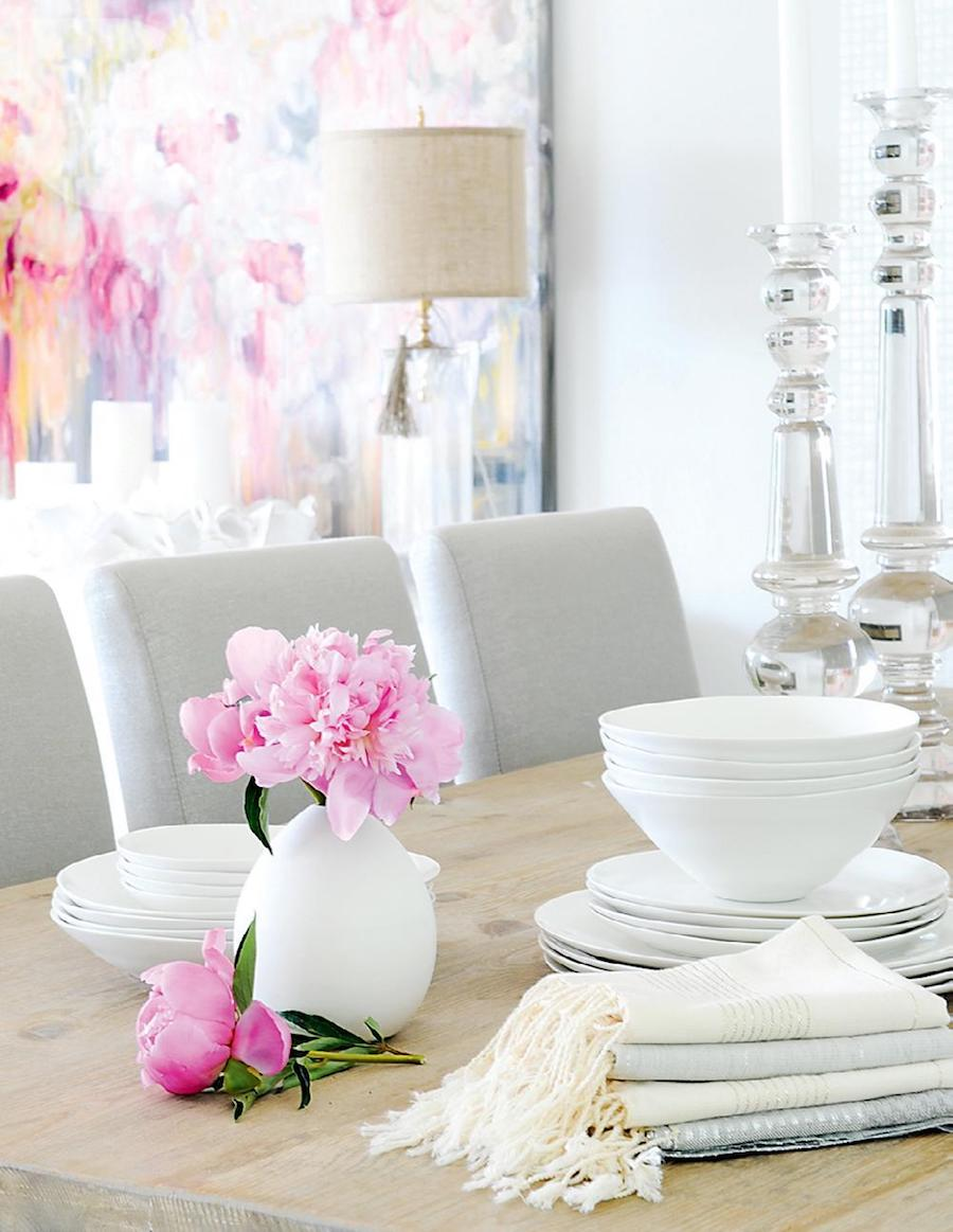 White tableware with gray seating