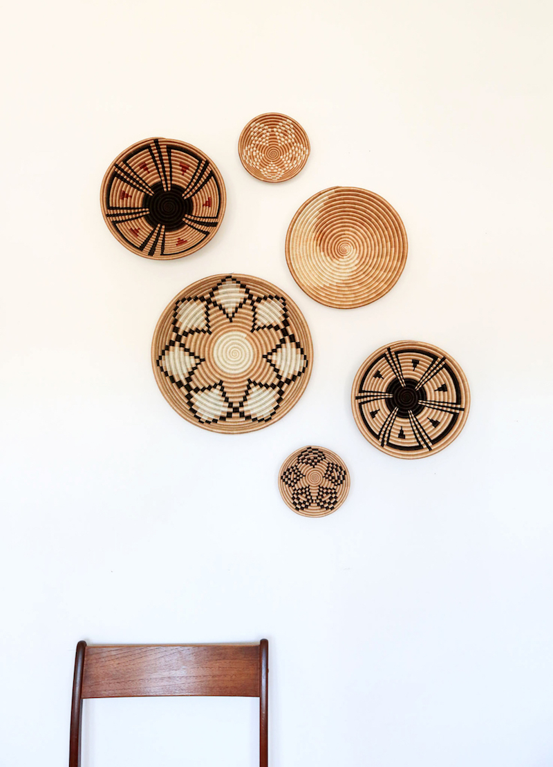 Woven baskets as wall decor
