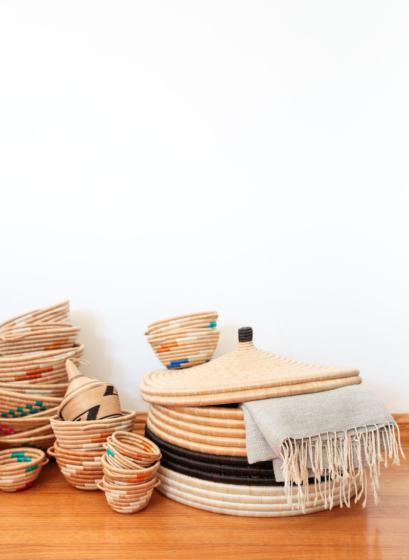 Woven baskets on floor