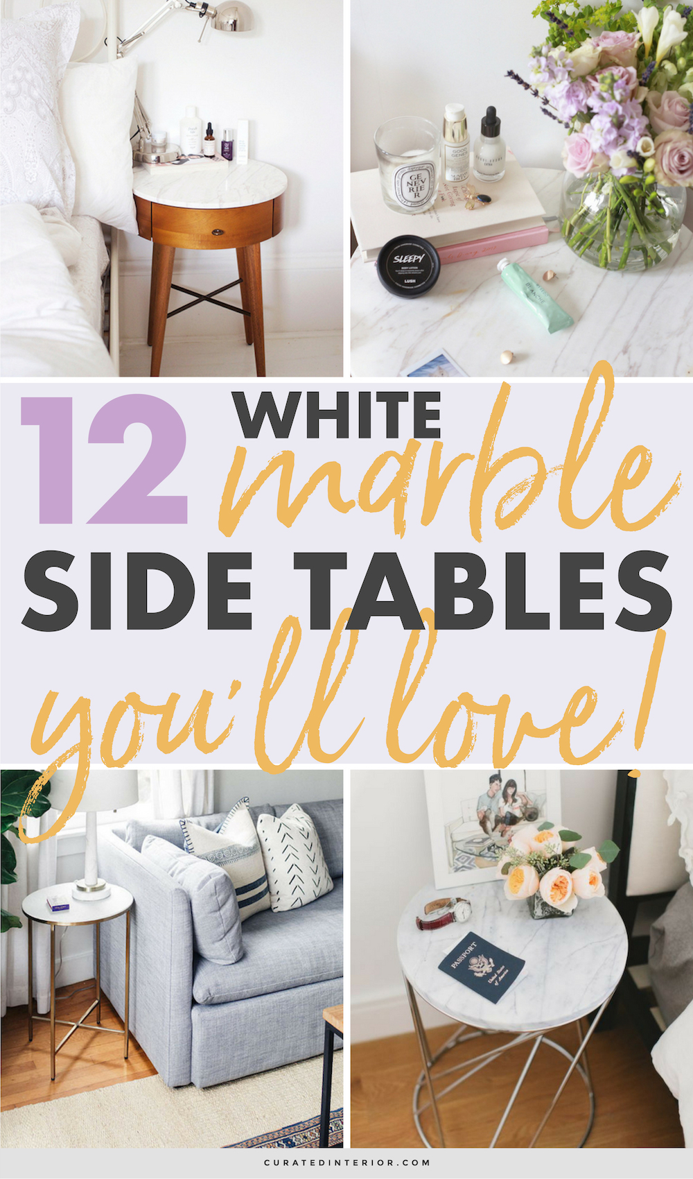 White Marble Side Tables You'll Love #marble #whitemarble #sidetables #homedecor