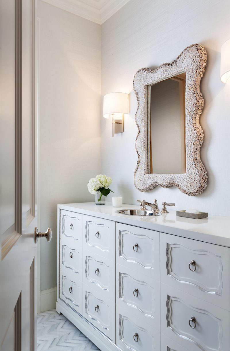 Beige grey bathroom vanity with many drawers
