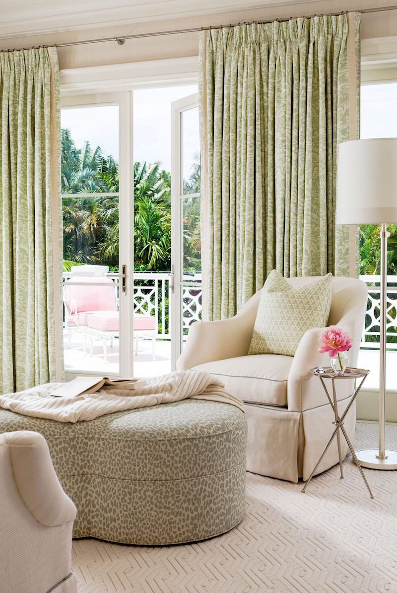 Beige sitting room with outdoor view