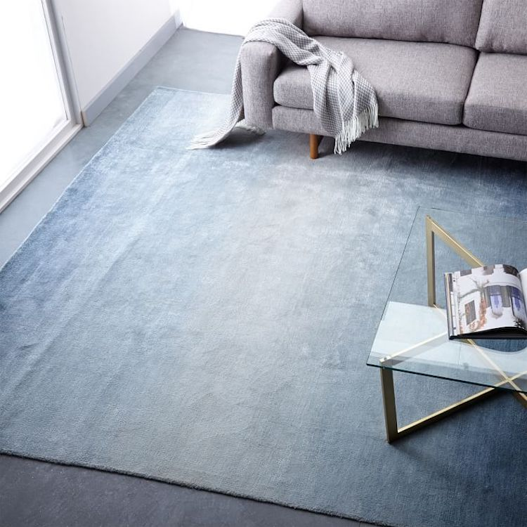 Blue Ombre Shine Wool Rug from West Elm