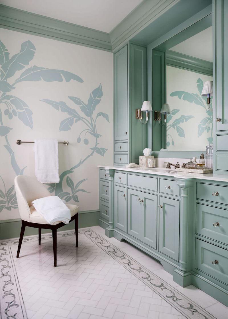 Blue green bathroom vanity cabinets