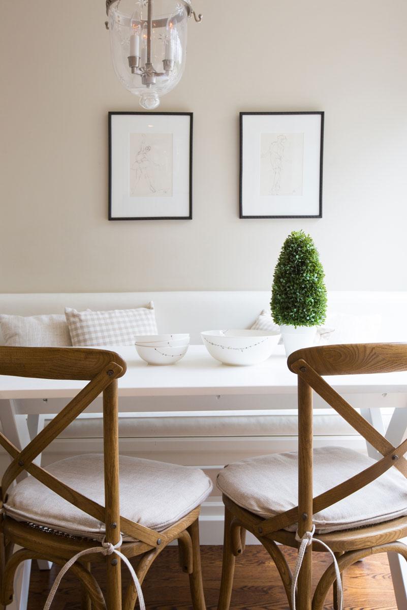 Brown wood cross back chairs via Flax Design