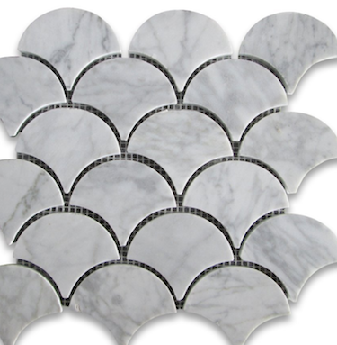 Carrera Marble Grand Fan Shaped Fish Scale Mosaic Tile