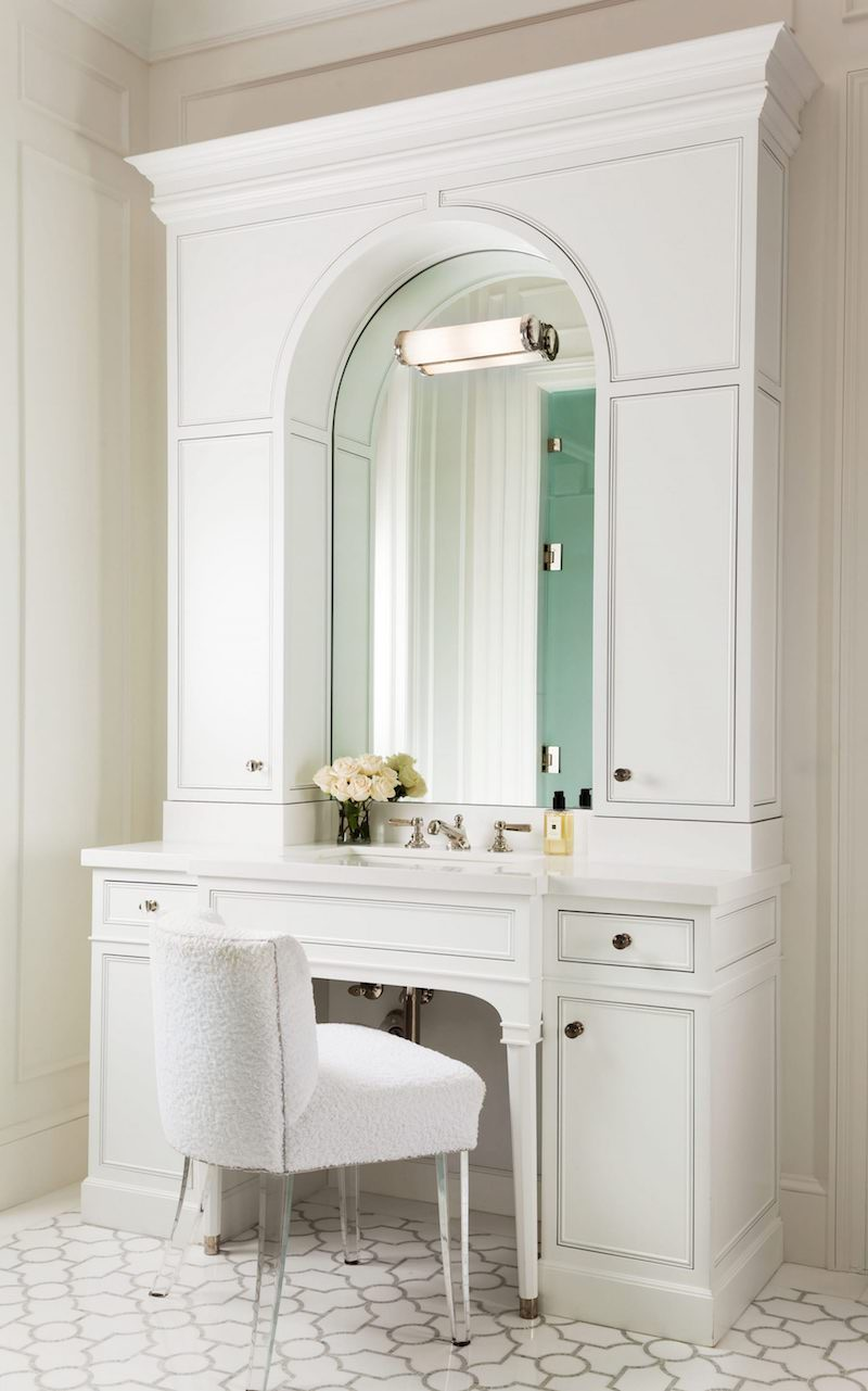 Crisp white bathroom vanity with lots of storage