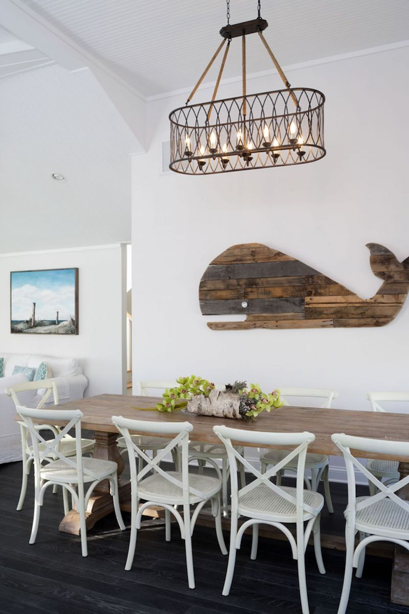 Cross Back Dining Chairs in Nautical Dining Room