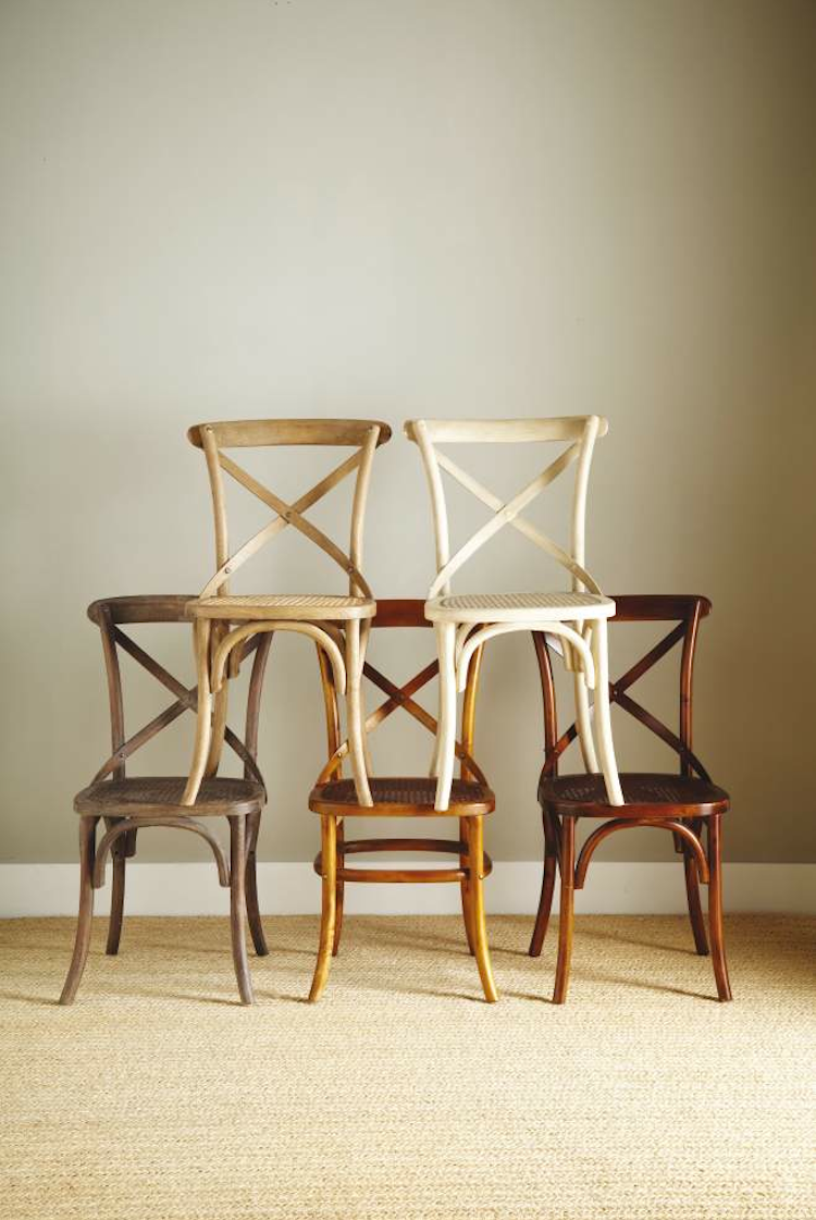 Cross-back chairs with different finishes