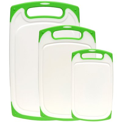 3-Piece Dishwasher Safe Plastic Cutting Board Set with Non-Slip Feet and Drip Juice Groove
