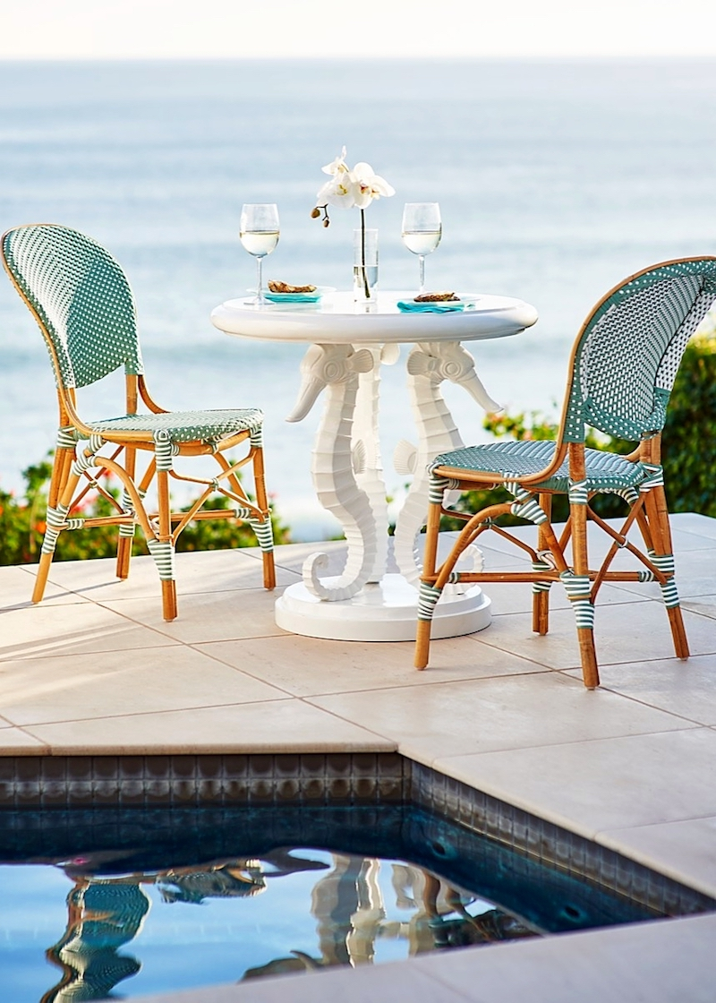 French bistro chairs by pool
