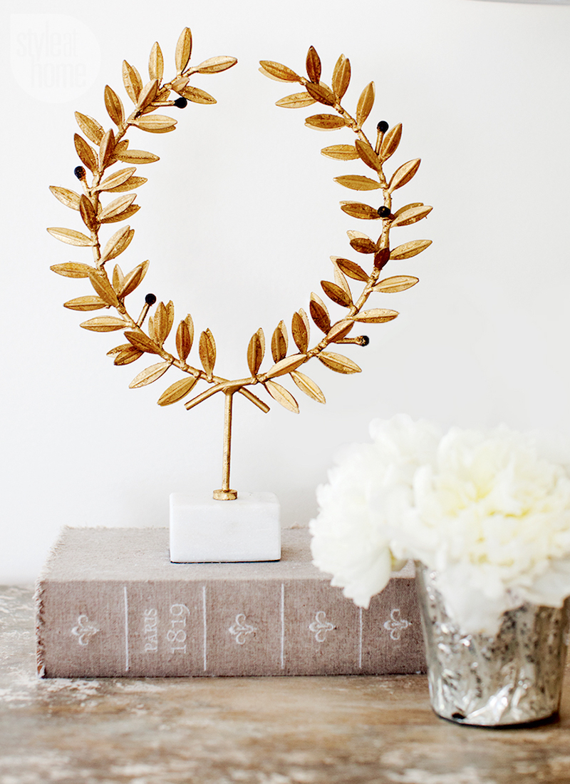 Gold leaf sculpture and vintage Parisian book