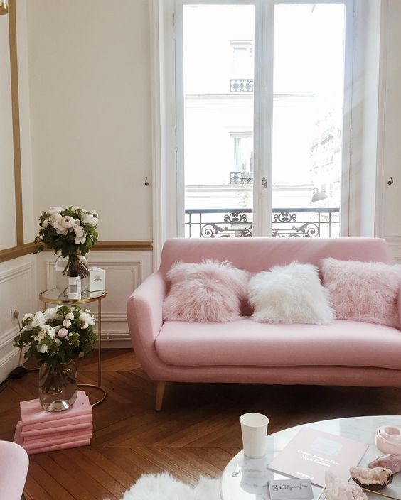 Gorgeous Pink sofa with fur pillows in Parisian apartment