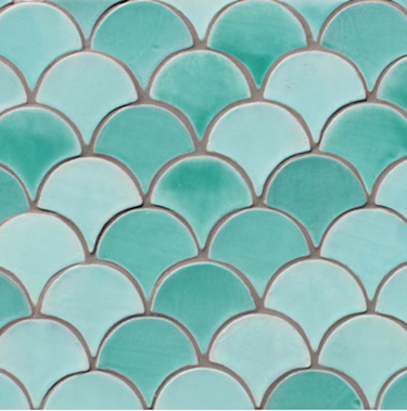 Green Blue Moroccan fish scale tiles