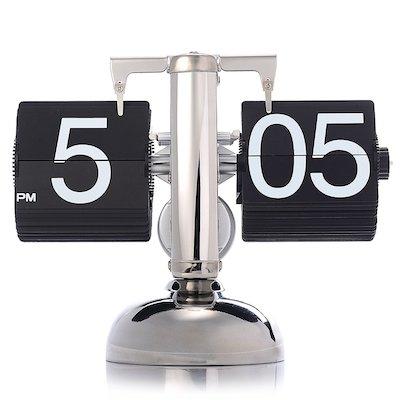 KABB Modern Digital Mechanical Retro Flip Dоwn Clock wіth Internal Gear Operated (Black)