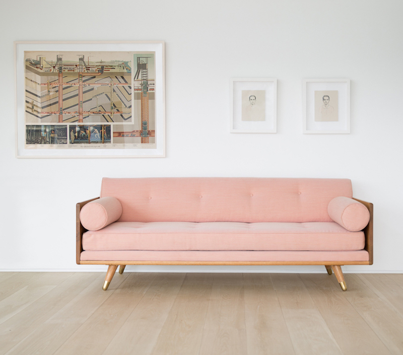 Kalon studios pale pink sofa with end cushions