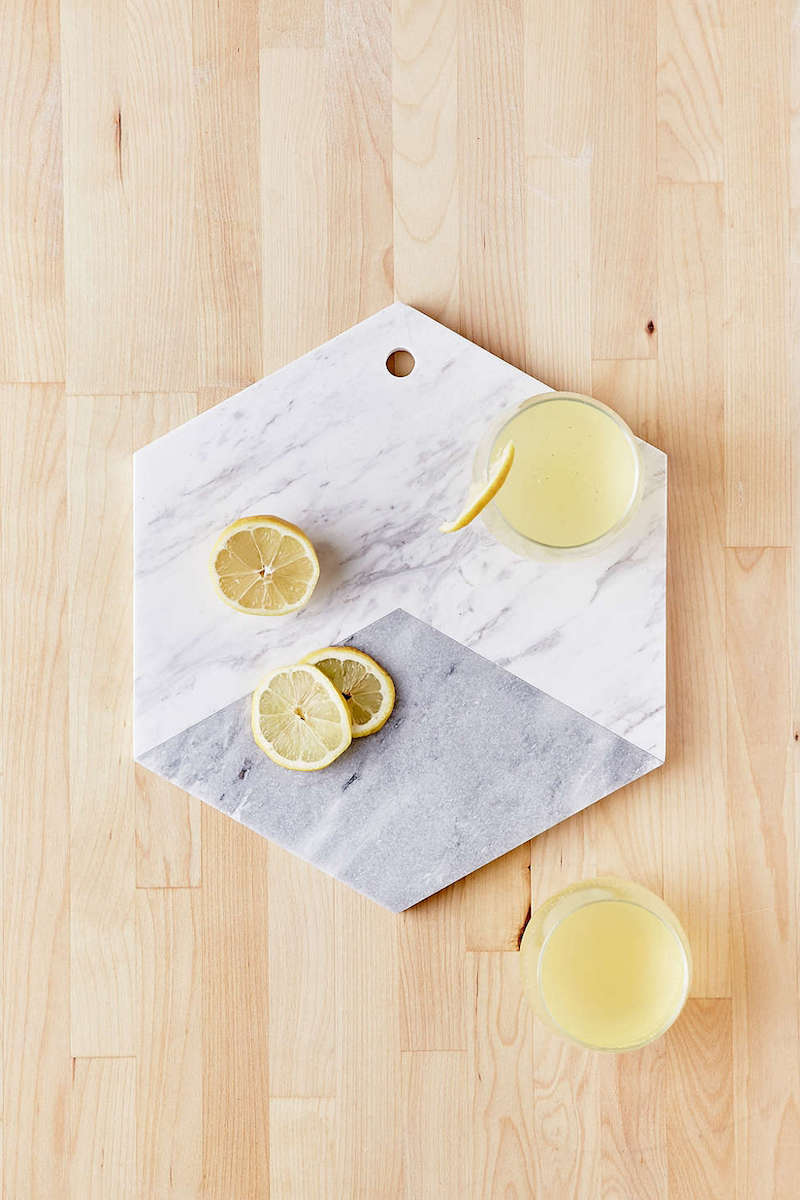 Marble Hexagon Cutting Board with lemons