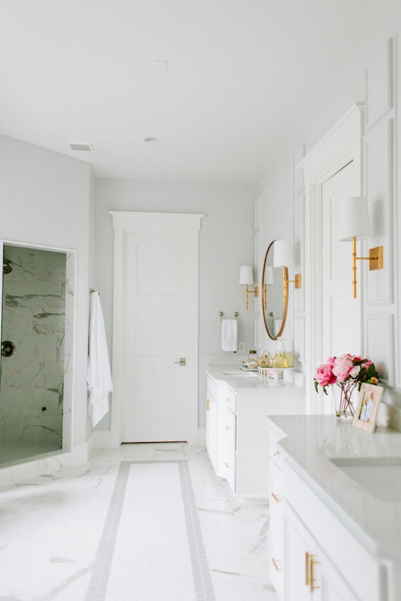 Marble bathroom floor tiles