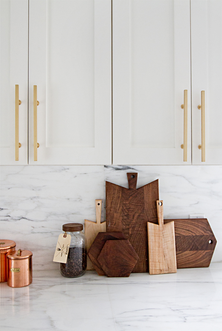 Marble kitchen with wood cutting boards