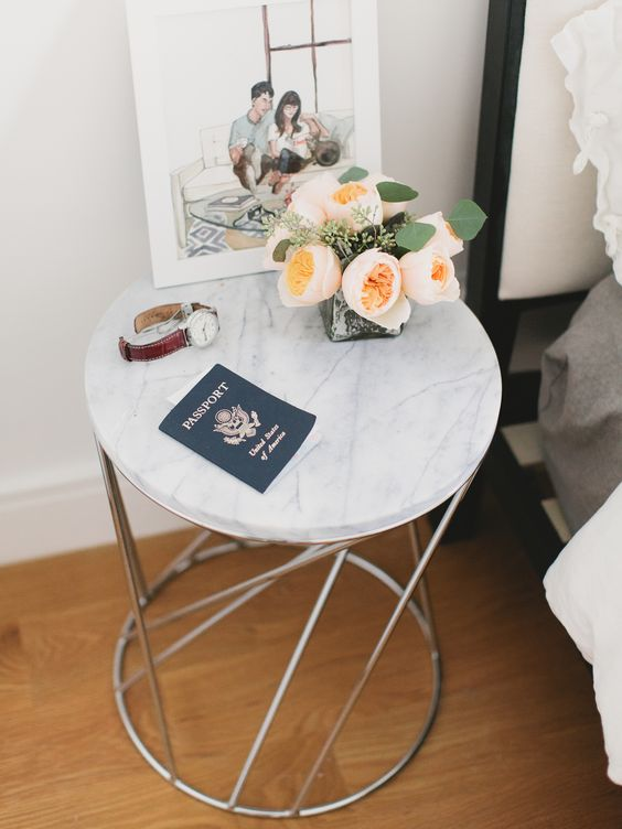 Marble side table with passport via Rue