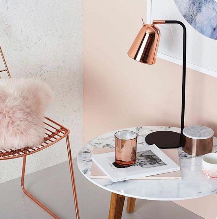 Marble side tables with rose gold decor