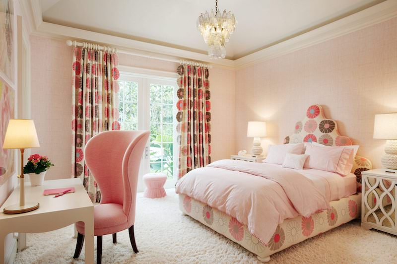 Monochrome pink bedroom with patterns and textures