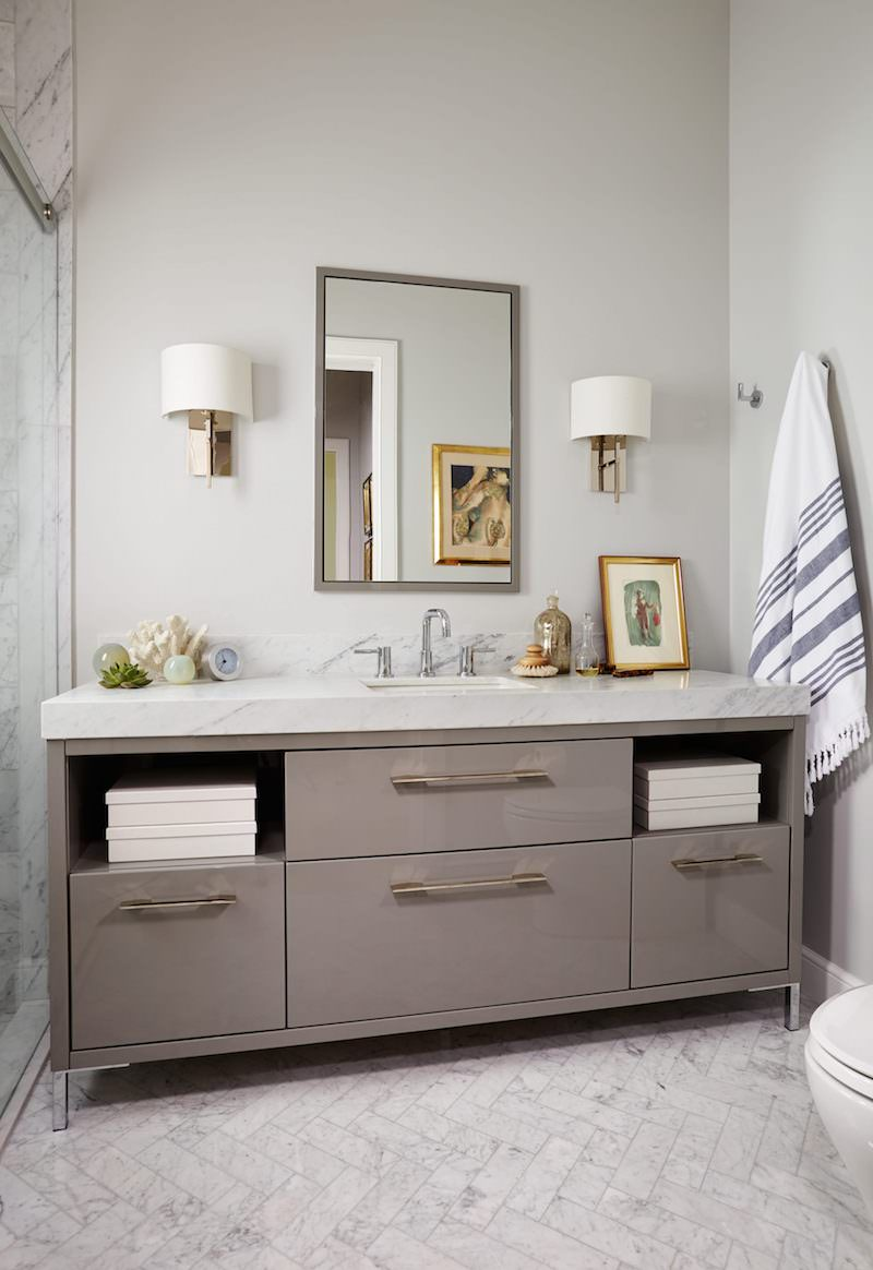 Muted grey walls in marble sink bathroom