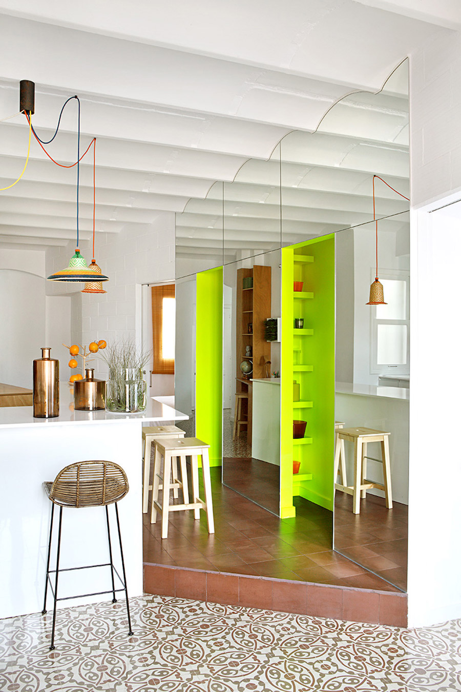 Neon accent wall with shelving inside Barcelona apt