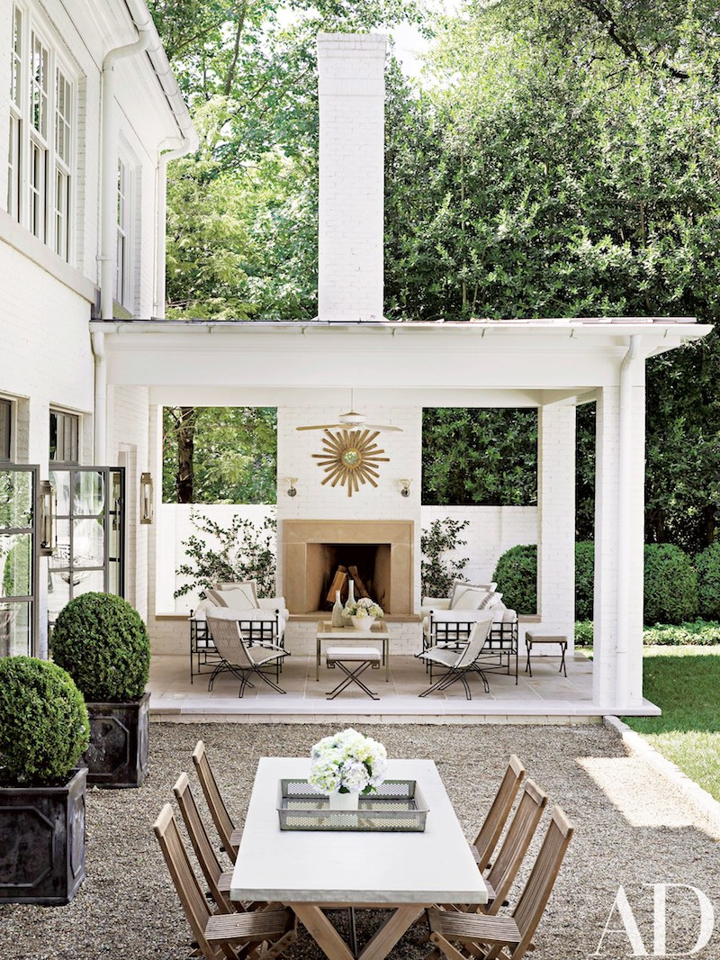 Neutral and white covered outdoor patio