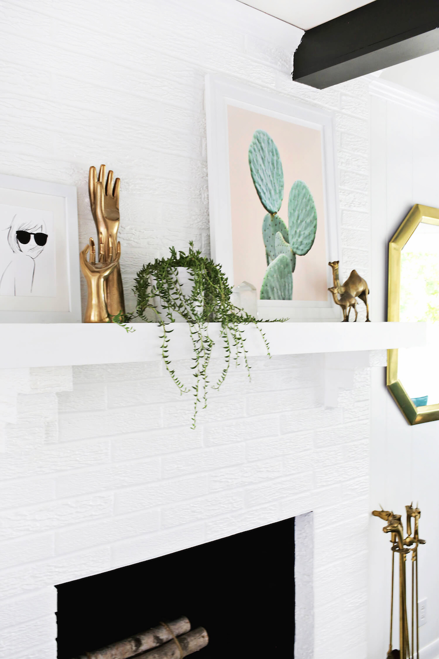 Painted white brick wall fireplace