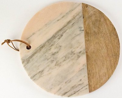Pink Marble and Mango Wood Board