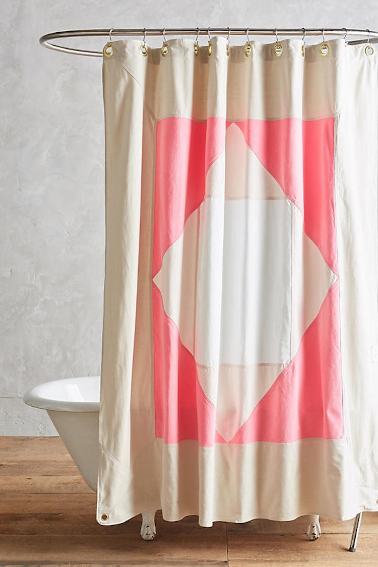 Pink and neutral shower curtain by Quiet Town