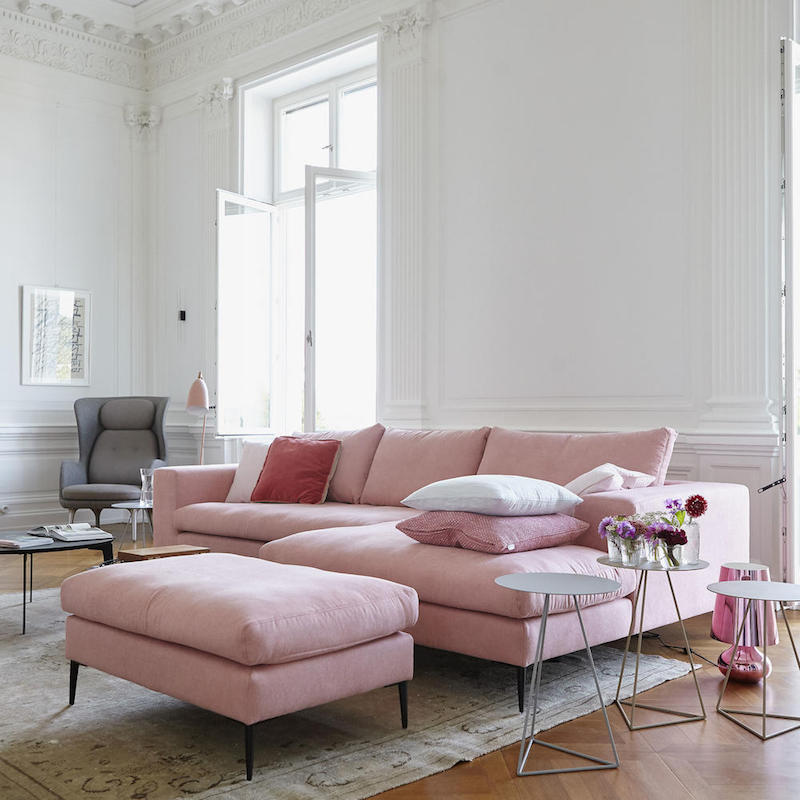 16 Ultra Chic Blush Pink Sofas How To Style Them: pink room with white furniture