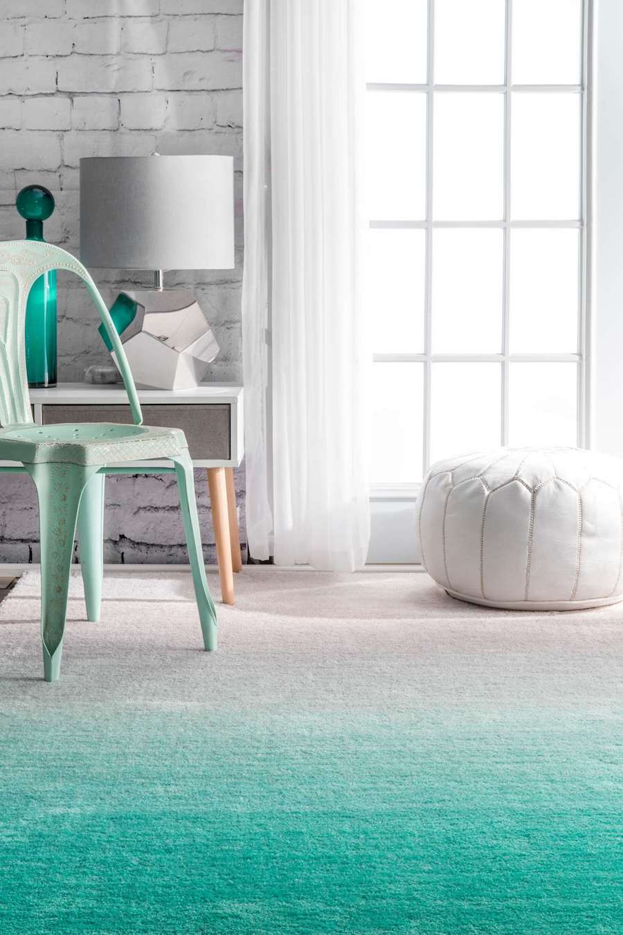 Sea green ombre rug